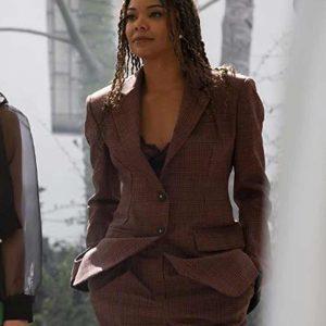 Gabrielle Union Glenn L.A.'s Finest Season 03 Brown Check Blazer