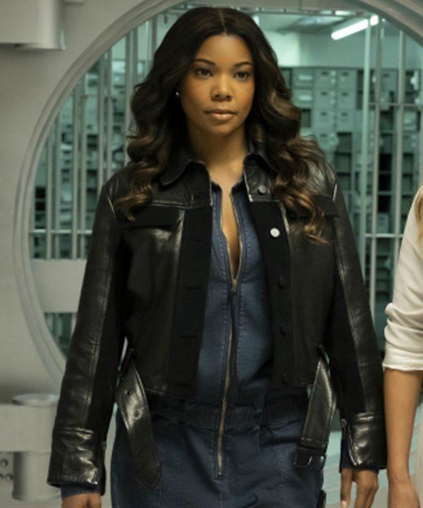 Gabrielle Union Black Leather L.A.'s Finest Sydney Burnett Jacket