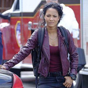 Tristin Mays TV Series MacGyver Riley Davis Motorcycle Maroon Leather Jacket