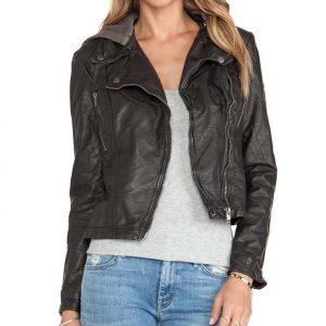Tristin Mays Macgyver Season 5 Riley Davis Black Leather Hooded Jacket