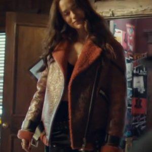 TV Series Wynonna Earp Melanie Scrofano Brown Leather Shearling Jacket