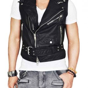 Men's Asymmetrical Belted Leather Vest