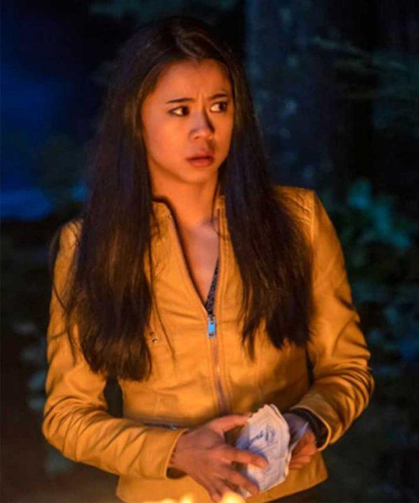 Georgia Fan TV Series Nancy Drew Leah Lewis Yellow Leather Jacket