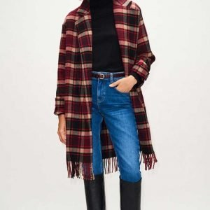 Jill Halfpenny Wool-blend The Drowning Jodie Checked Fringe Coat