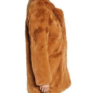 Melody Chu TV Series The Equalizer 2021 Liza Lapira Brown Faux Fur Coat