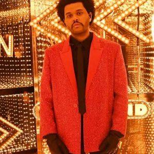 The Weeknd Super Bowl 2021 Red Sequins Blazer