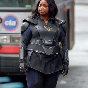 Octavia Spencer Thunder Force 2021 Emily Black Leather Jacket