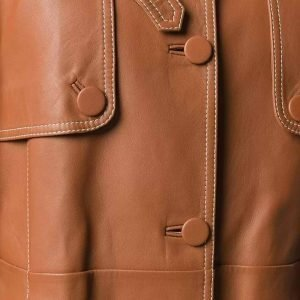 Brown Stylish Mid-Length Belted Leather Coat for Women's
