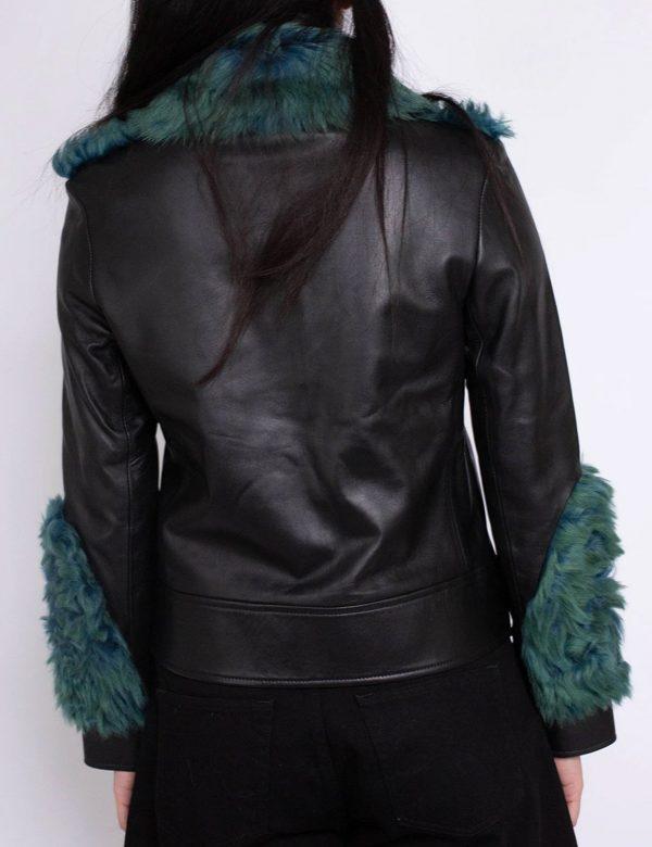 Green Faux Shearling Aviator Leather Jacket Women Sale Flat 50% OFF