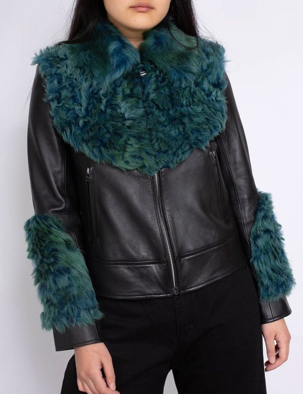 Womens Faux Shearling Aviator Green Fur Leather Jacket
