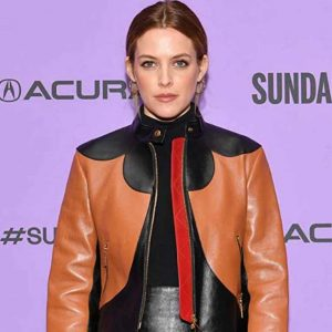Riley Keough Zola 2021 Stefani Black and Brown Leather Jacket