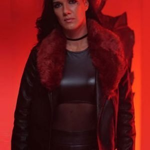 Natalie Burn Acceleration Rhona Black Leather Jacket with Fur Collar