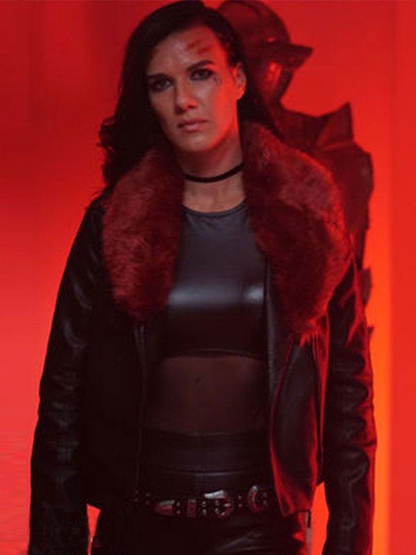 Natalie Burn Acceleration Rhona Black Leather Jacket with Fur Collar