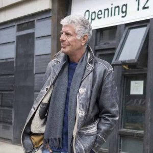 Anthony-Bourdain-Grey-Leather-Jacket