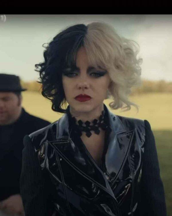 Emma Stone Cruella 2021 Cruella de Vil Black Leather Jacket