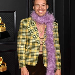Yellow Checkered Harry Styles Grammys Wool Blazer