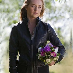 Amber Marshall Black Leather TV Series Heartland Amy Fleming Jacket