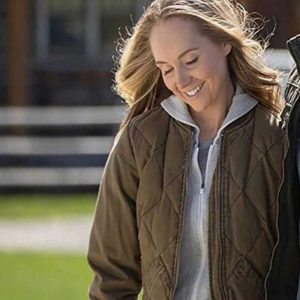 Amber Marshall TV Series Heartland Amy Fleming Brown Bomber Quilted Jacket