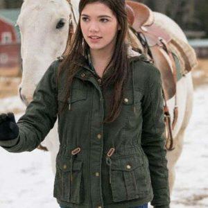 Georgie TV Series Heartland Alisha Newton Green Jacket with Hood