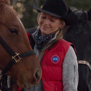 Amber Marshall TV Series Heartland Season 14 Amy Fleming Red Puffer Vest