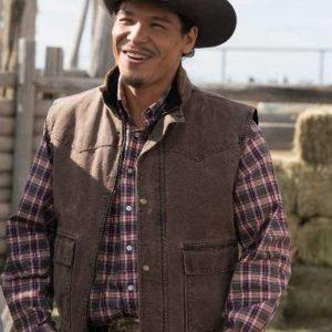 Nathaniel Arcand Brown Cotton TV Series Heartland Scott Cardinal Vest