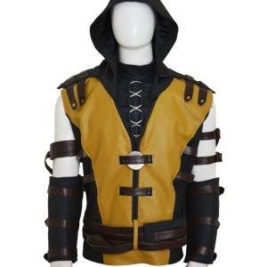 Mortal Kombat X Scorpion Leather Jacket with Hood - Free Shipping