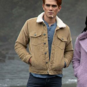 K.J. Apa Riverdale Archie Andrews Brown Cotton Jacket with Shearling Collar