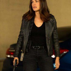 Megan Boone Black Motorcycle The Blacklist Elizabeth Keen Leather Jacket