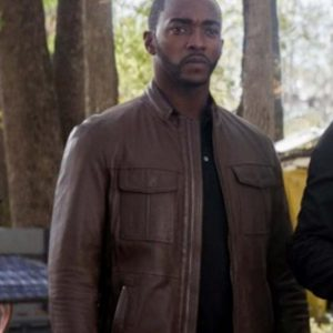 Anthony Mackie Tv Series The Falcon and the Winter Soldier 2021 Brown Leather Jacket