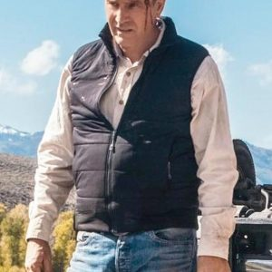 Kevin Costner Yellowstone John Dutton Black Quilted Vest