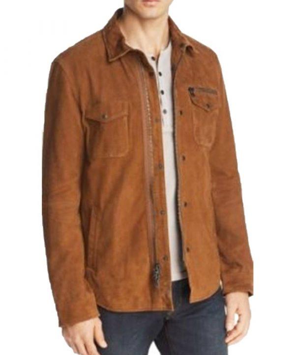 Ryan Guzman TV Series 9-1-1 Eddie Diaz Brown Suede Leather Jacket