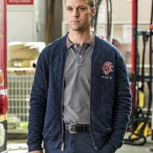 TV Series Chicago Fire Jesse Spencer Blue Quilted Bomber Jacket