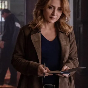 Sasha-Alexander-Dangerous-Lies-Detective-Chesler-Brown-Suede-Leather-Coat