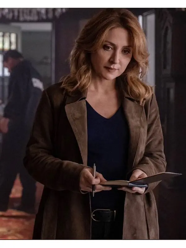 Sasha-Alexander-Dangerous-Lies-Detective-Chesler-Brown-Suede-Leather-Coat