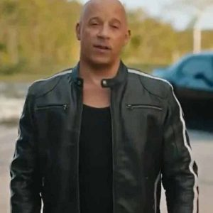 Dominic Toretto F9 Vin Diesel Cafe Racer White Striped Leather Jacket