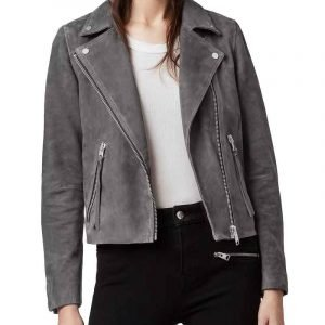 Bloom Fate The Winx Saga Abigail Cowen Grey Suede Leather Jacket