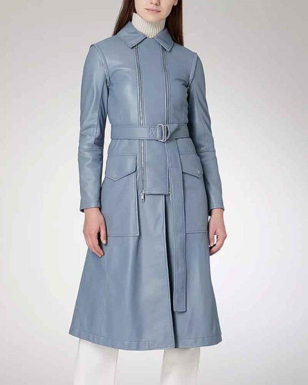 Eve Best Fate The Winx Saga Farah Dowling Blue Leather Coat