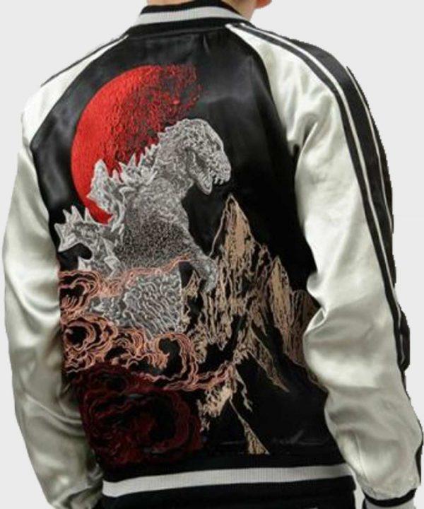 Godzilla King of Monster Black Bomber Satin Jacket