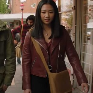 Olivia Liang Nicky TV Series Kung Fu 2021 Red Leather Jacket