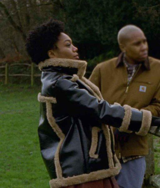 Lena Waithe Master of None Denise Shearling Trim Leather Jacket