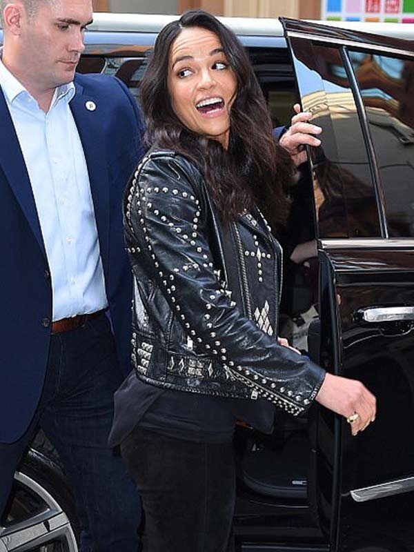 Letty Ortiz Fast and Furious 9 Michelle Rodriguez Leather Biker Studded Jacket