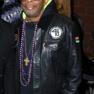 Black Monster Spike Lee Leather Jacket with Patches