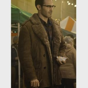 Tyler Hoechlin Superman and Lois Clark Kent Brown Shearling Leather Coat