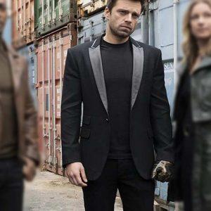 Sebastian Stan The Falcon and The Winter Soldier Bucky Barnes Black Blazer