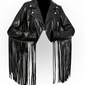 Womens Hateful Ace Fringe Black Leather Moto Jacket