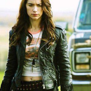 Melanie Scrofano Wynonna Earp Black Fringe Leather Jacket
