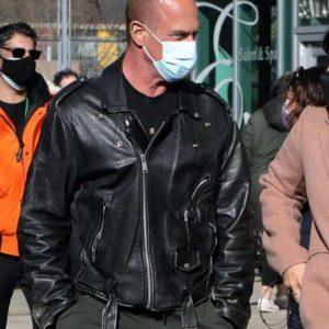 Christopher Meloni Law and Order Organized Crime Elliot Stabler Black Leather Jacket