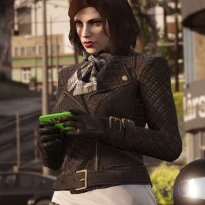 GTA 6 Female Protagonist Black Quilted Leather Jacket