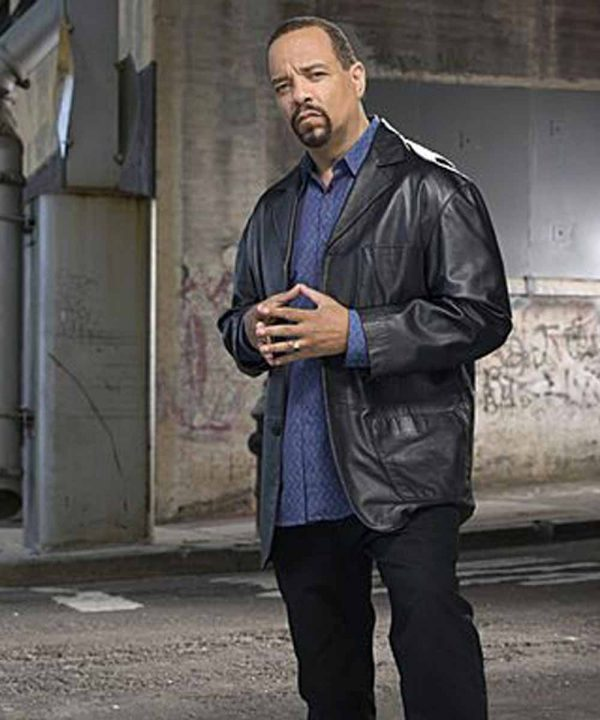 Ice-T Law and Order: Special Victims Unit Odafin Tutuola Black Leather Jacket