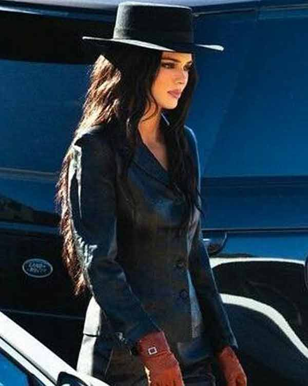 Kendall Jenner Leather Jacket Womens Black Biker Jacket